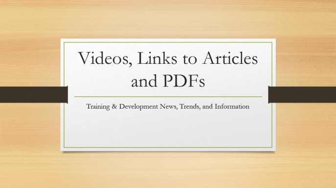 Videos, Links to Articles and PDFs for Training for Impact Trending Post